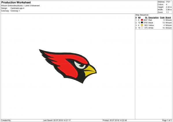 Arizona Cardinals embroidery