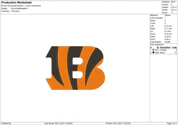 Bengals embroidery