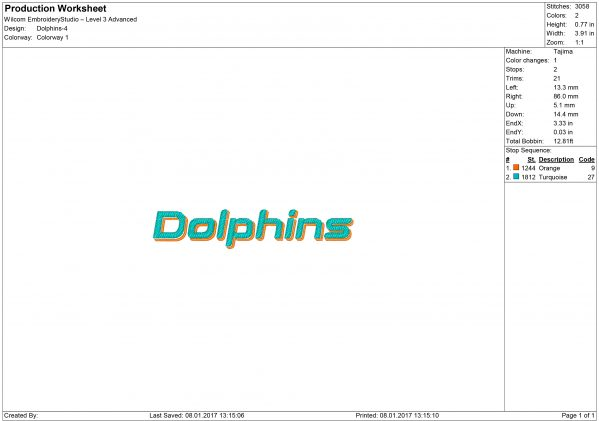 Miami Dolphins Embroidery