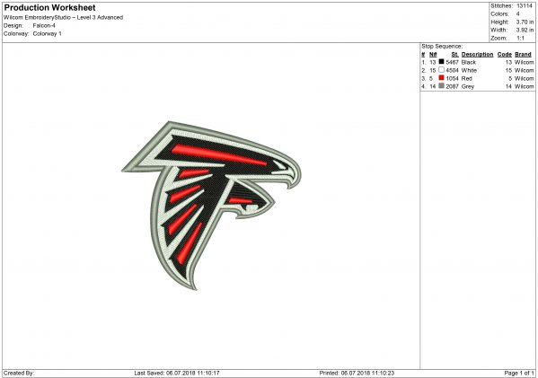 Falcons embroidery