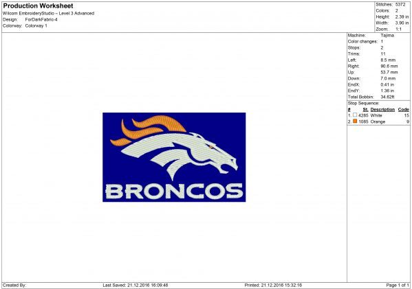 Broncos embroidery