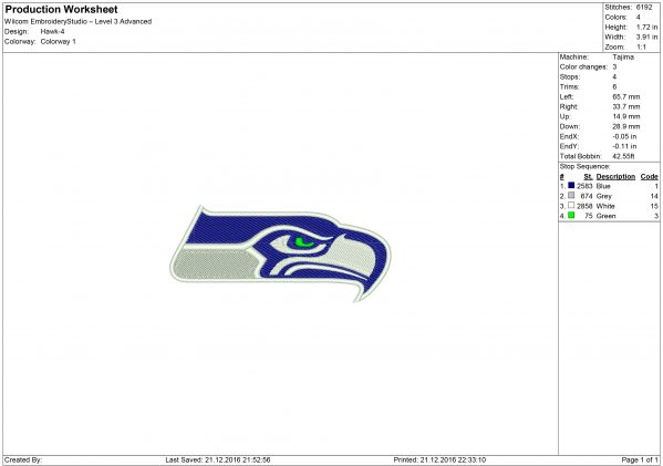 Seahawk embroidery
