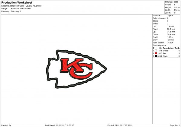 Kansas City Chiefs embroidery