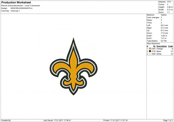 New Orleans Saints embroidery