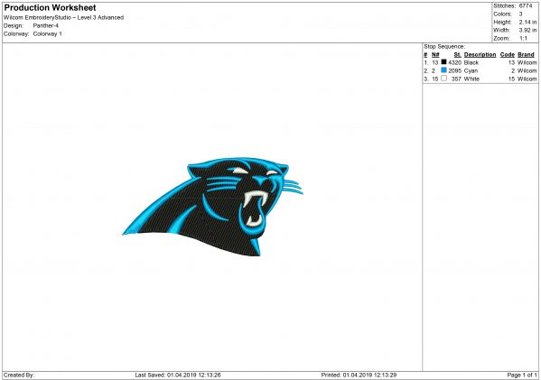 Panthers embroidery