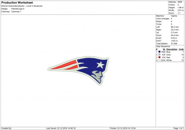New England Patriots embroidery