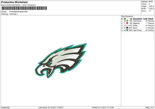 Eagles embroidery
