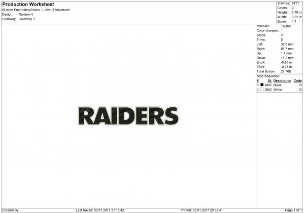 Raiders embroidery