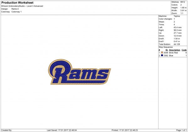 Los Angeles Rams embroidery
