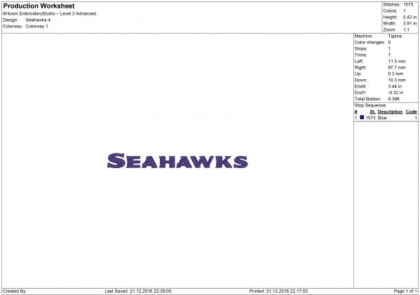 Seattle Seahawks embroidery