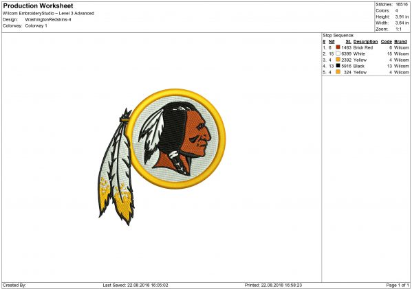 Redskins embroidery