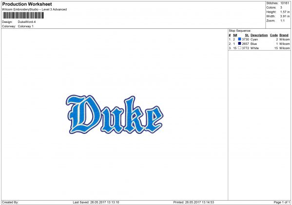 Duke embroidery