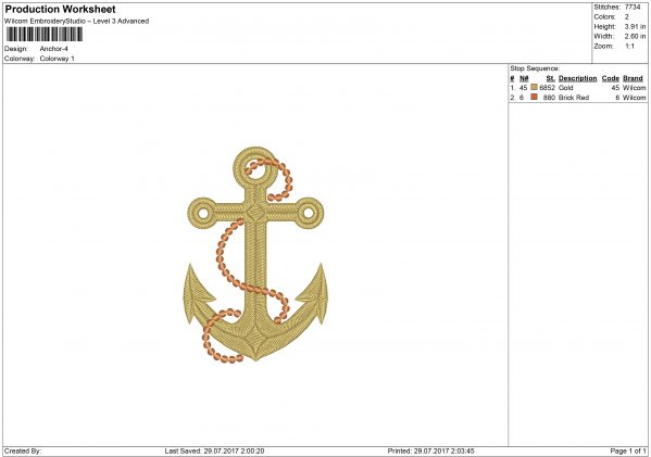 Anchor embroidery