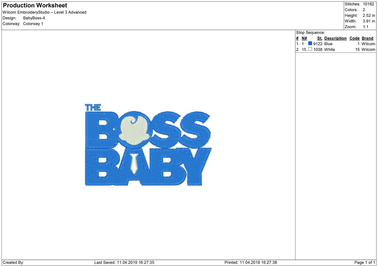 Baby Boss Embroidery design – Machine embroidery design – Machine ...