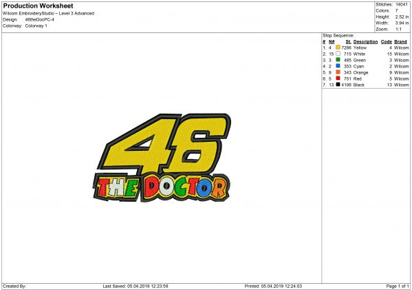 vr46 embroidery