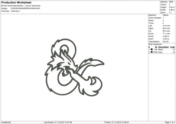 Dungeons and Dragons Embroidery design