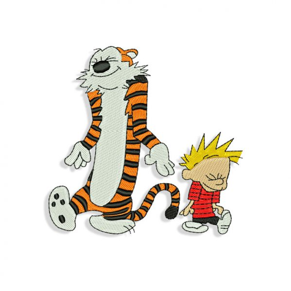 Calvin and Hobbes Dancing Embroidery design