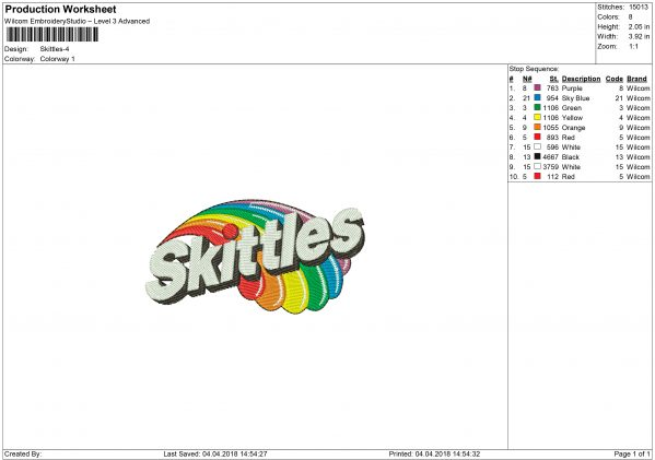 Skittles Embroidery