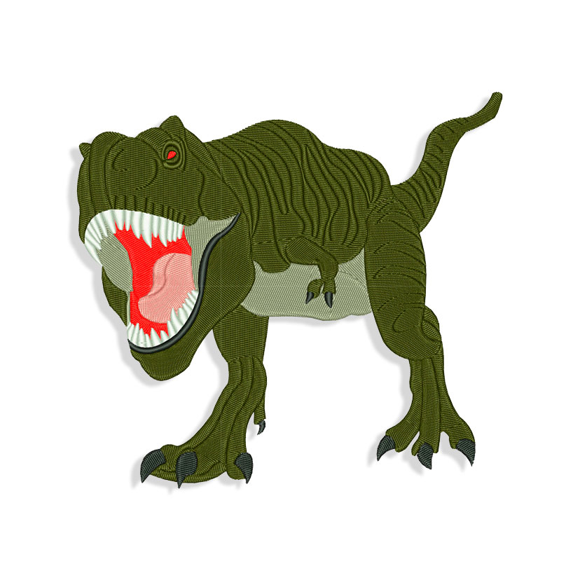 Roaring Dinosaur Red Tyrannosaurus Rex Ryans World Embroidery Design 3 Sizes 10 Formats Instant Download