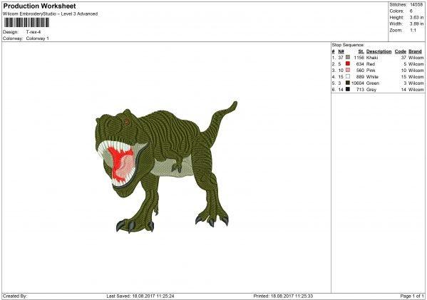 Dinosaurus Embroidery design