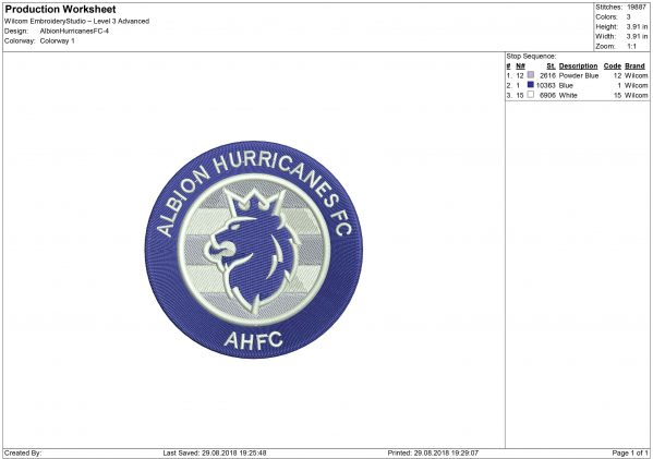 Albion Hurricanes embroidery