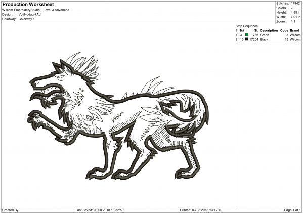 Hodag Wolf Embroidery design files for Machine embroidery