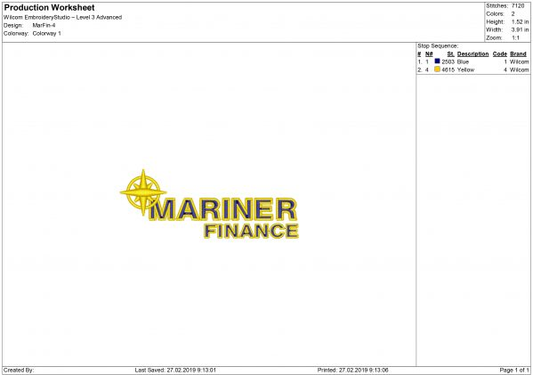 Mariner Finance Embroidery