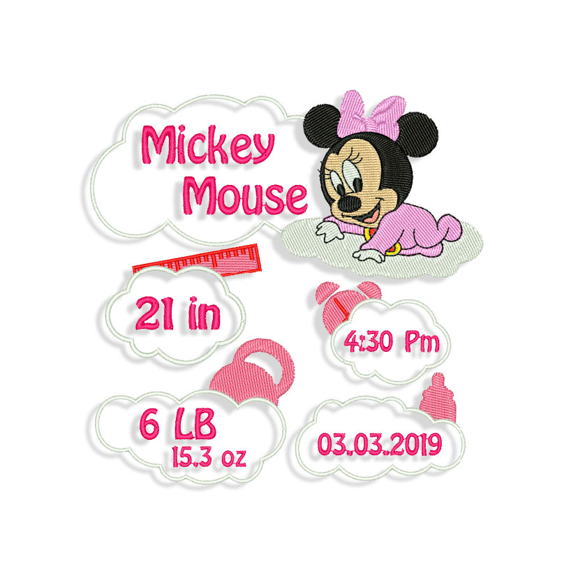 Birth Announcement Machine Embroidery Designs And Svg Files