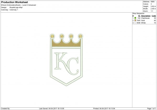 Royals embroidery