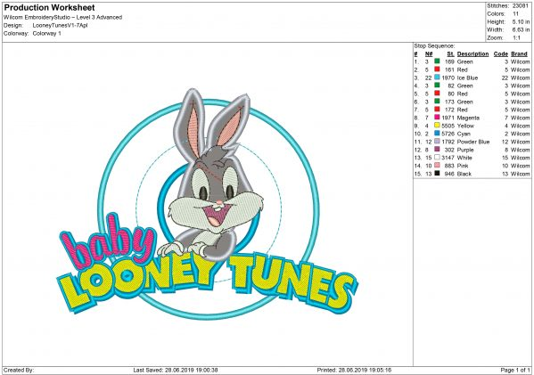 Bugs Bunny Embroidery