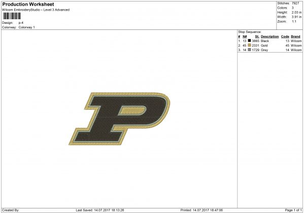 Purdue Boilermakers embroidery