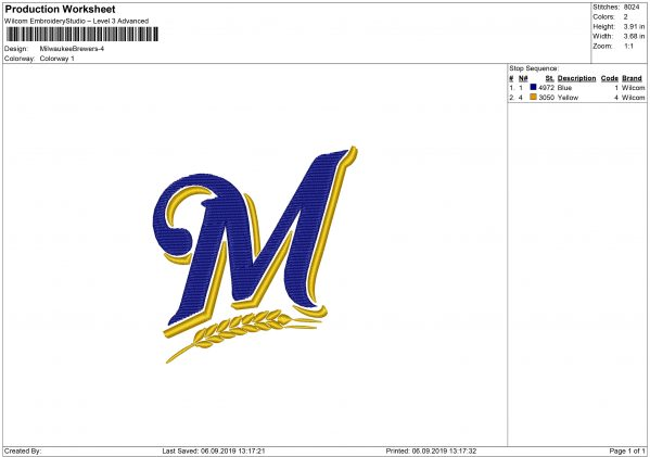 Brewers embroidery