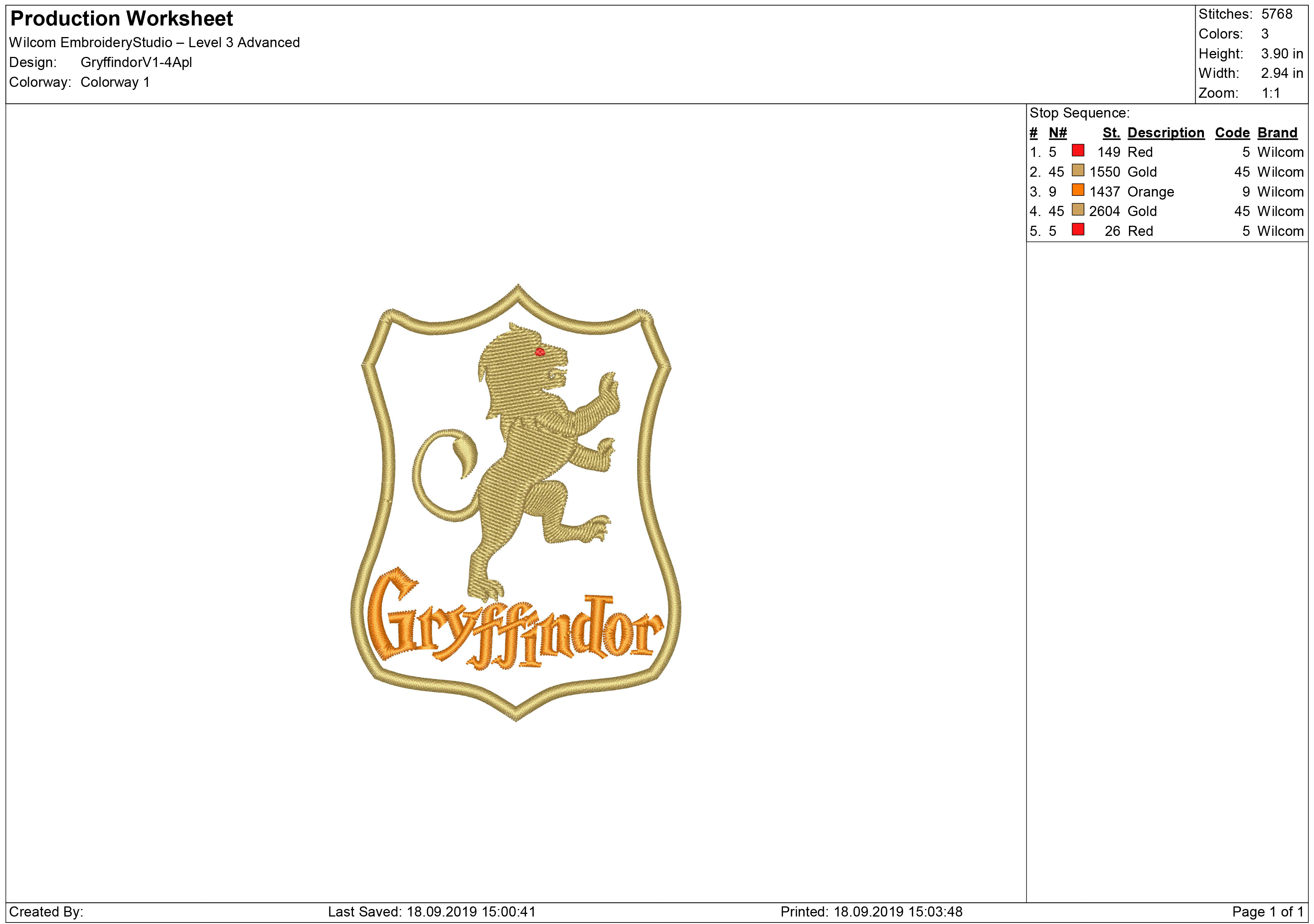 Gryffindor Embroidery