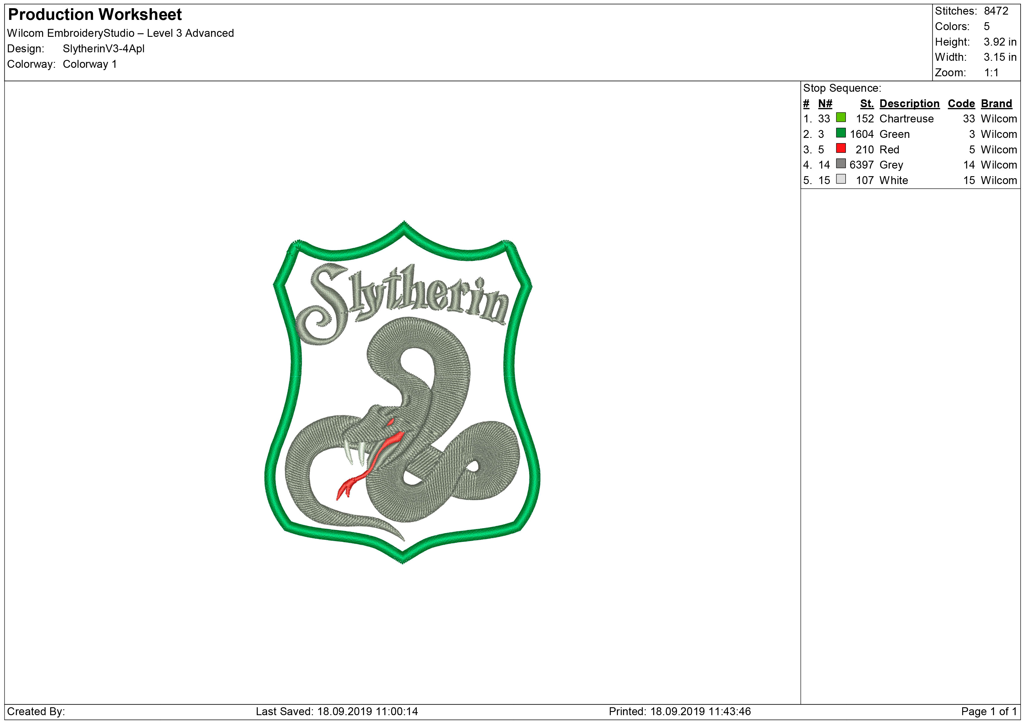 Slytherin Embroidery