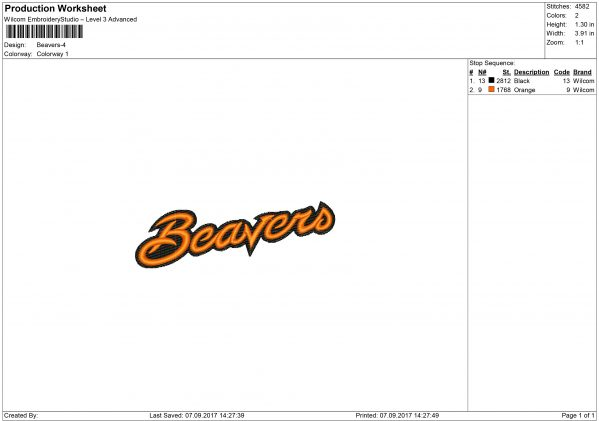 Beavers Embroidery design