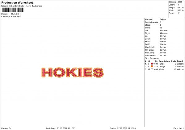 VT Hokies Embroidery design