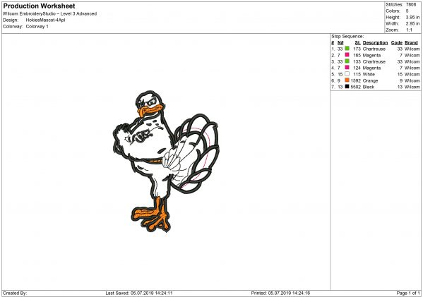 Hokies Embroidery design