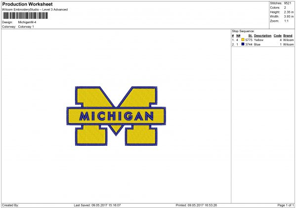 Michigan Wolverines Embroidery design