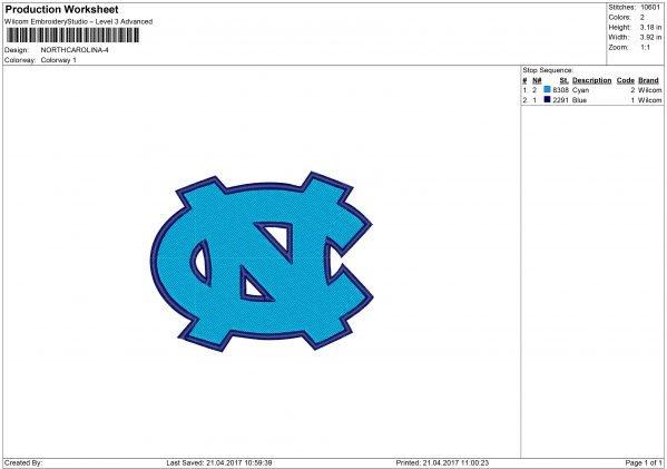 North Carolina Tar Heels Embroidery design