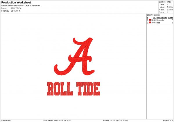 Crimson Tide Embroidery design