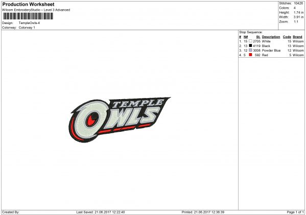 Temple Owls Embroidery design