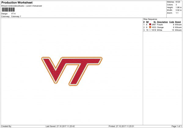 VT Embroidery design