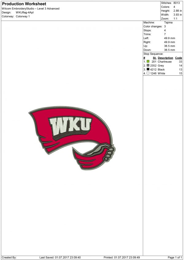 Western Kentucky Hilltoppers Embroidery design