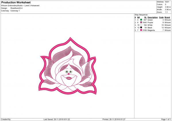 Rose Face Applique Embroidery