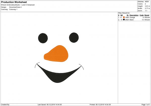 Snowman Face Embroidery