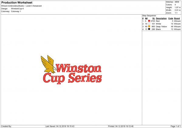 Winston Cup logo Embroidery design