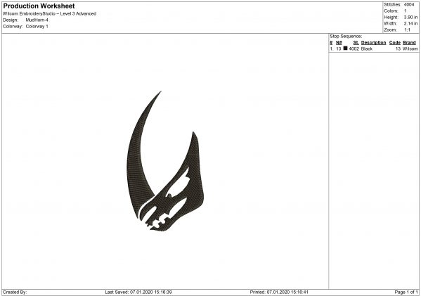 Mudhorn logo Embroidery design