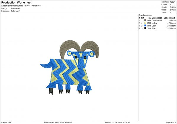 Five Legged Goat Embroidery design