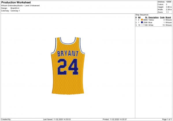 Kobe Bryant Embroidery