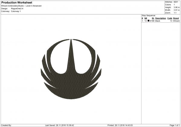 Rogue One logo Embroidery design